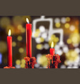 red candles realistic bokeh lights vector image