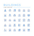 set color line icons buildings vector image vector image