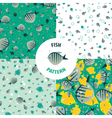 set fish pattern vector image vector image