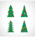 set of four christmas tree with christmas balls vector image