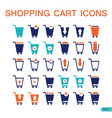 set of shopping cart icons for web shop online vector image