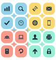 set of simple practice icons vector image vector image