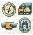 set outdoor adventure quotes symbol concept vector image vector image