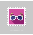 Sunglasses flat stamp with long shadow vector image