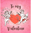 Vintage hand drawn Valentine card with two cupids vector image vector image