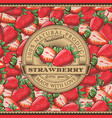vintage strawberry label on seamless pattern vector image vector image