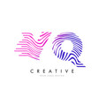 vq v q zebra lines letter logo design with vector image
