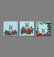 winter holiday prints set with rabbit vector image
