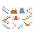 wooden and metal staircase with handrails set vector image