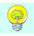 yellow lightbulb with green tree inside o vector image