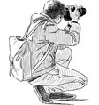 young man takes picture vector image vector image