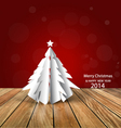 Merry Christmas greeting card with origami vector image