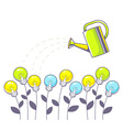 growing color lightbulbs and green wateri vector image