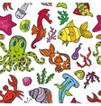 Cartoon Funny Fish Sea Life seamless pattern vector image