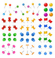 3d office stationery buttons holder drawing-pin vector image