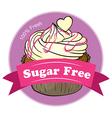 A sugar free label with a delicious cupcake vector image vector image