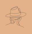abstract woman with hat with line art drawing vector image