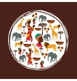 Africa design seal stamp shape culture icon set vector image