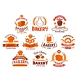 Bakery and pastry shop icons vector image vector image