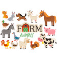 basic rgbset isolated cute farm animals vector image