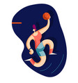 basketball player throws the ball in the basket vector image