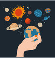 beautiful female hand is holding earth with other vector image