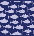 blue fish silhouettes seamless animal vector image