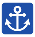blue white information sign - anchor icon vector image