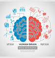 brain silhouette infographic creative thinking vector image vector image