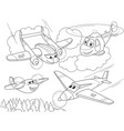 cartoon coloring helicopters and planes with faces vector image
