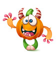 cartoon funny crazy pumpkin characters vector image