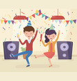celebrating couple dancing music with wine glass vector image