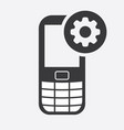 cell phone icon with settings sign vector image