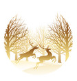 christmas with forest and reindeer vector image