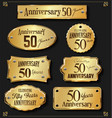 collection of anniversary retro gold labels 50 vector image vector image