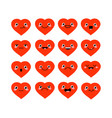 cute cartoon kawaii hearts set with different vector image