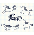 doodle horses vector image