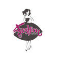 fashion store new look style girl retro lady vector image