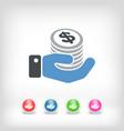 financial icon - dollars vector image vector image