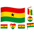 ghana flag in seven shapes editable with separate vector image vector image