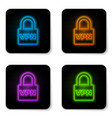 glowing neon lock vpn icon isolated on white vector image vector image