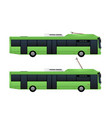 green electric bus with pantograph vector image vector image