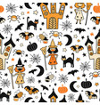 halloween characters wearing face masks seamless vector image vector image