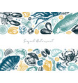 hand drawn seafood frame design in color with vector image