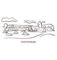 handwritten sketch of rural landscape vector image vector image