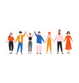 happy funny young men and women holding hands vector image vector image