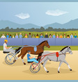 harness racing flat composition vector image vector image