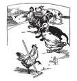 hen raking barnyard with animals watching vintage