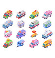 isometric food trucks street carts hot dog truck vector image