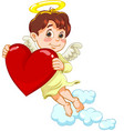little baby angel with a heart vector image vector image